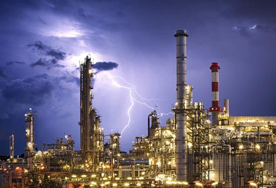 Lightening striking refinery