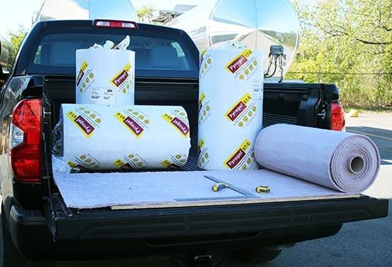 Pony Rolls of Pyrogel in Pickup Truck
