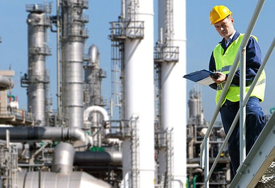 inspecting refinery